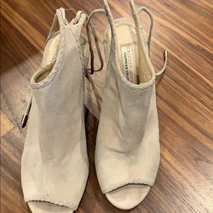 Chinese laundry tan open toed wedges